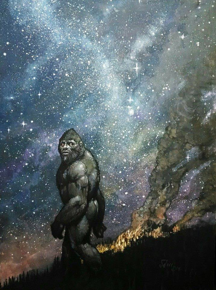 sasquatch walking at night