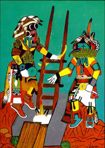 Valentino-Anton-Paiting-Hopi-Kachinas-on-a-Kiva-rooftop-214x300